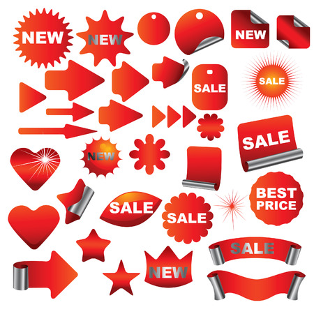Big set of red signs Vector