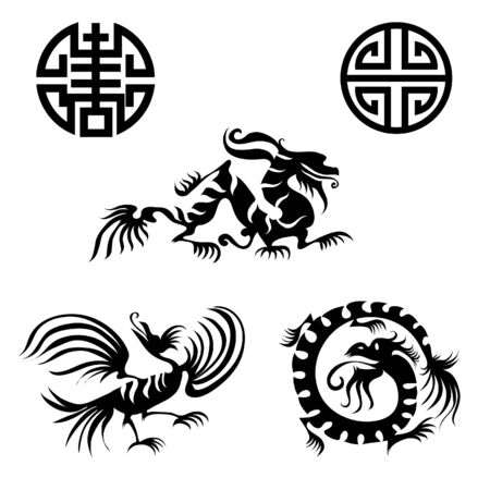 japanese style: Set of chinese design elements Illustration