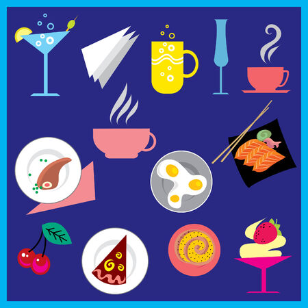 Set of cute colorful food and drink design elements Stock Vector - 5072346