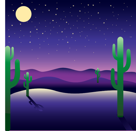 moon  desert: Background with night American landscape Illustration