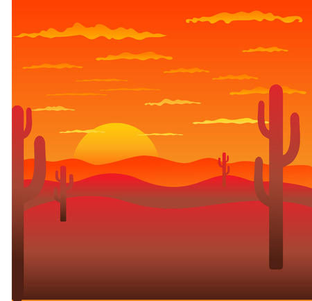desert sunset: Background with American landscape