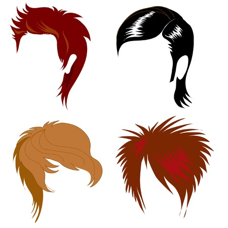 long hair: Set of hair styling for man Illustration
