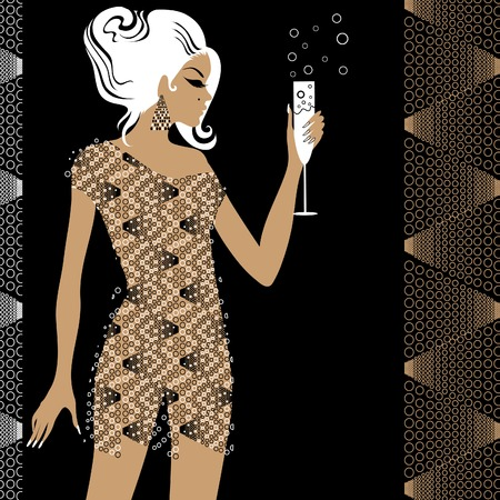 womanish: Girl in the party with glass of champane Illustration