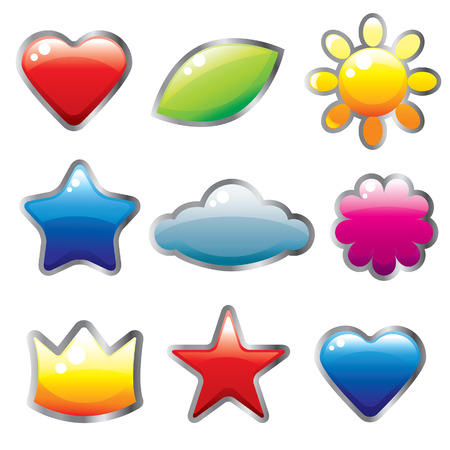Set of glassy cute colorful web buttons Vector