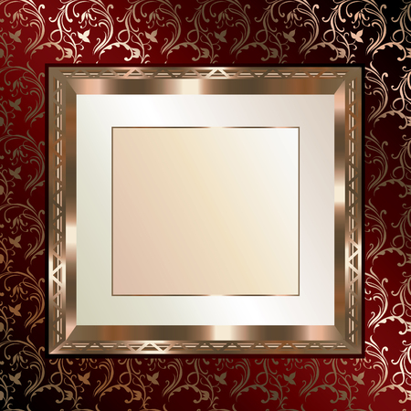 Gold antique floral pattern and beautiful gold frame Vector