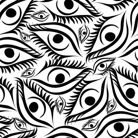 Seamless background with free hand eyes Vector