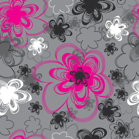 Seamless vintage grey floral pattern Vector