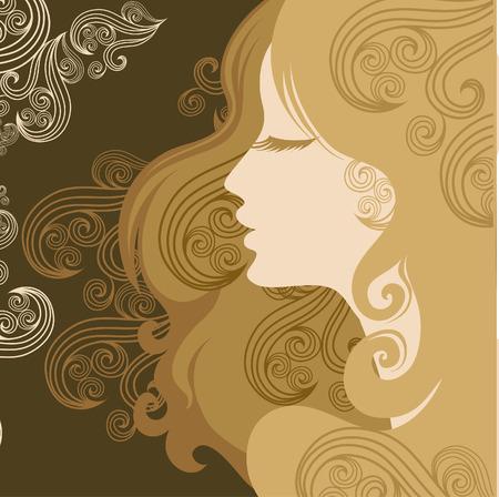 melancholy: Closeup decoratieve vintage vrouw met mooie haren Stock Illustratie