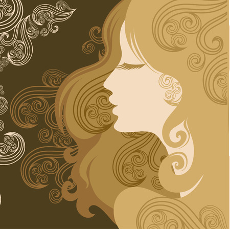 Closeup decorative vintage woman with beautiful hair Vector
