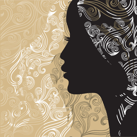 vintage portrait: Closeup decorative vintage woman with beautiful hair Illustration