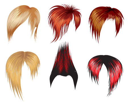 Set of super trendy hair style samples for man Vector