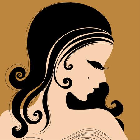 Sexy chica con largo cabello hermoso