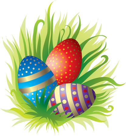 Set of beautiful Easter eggs in the grass Vector