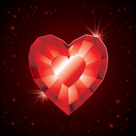 Saint Valentines Day. Jewel red heart with glitters  Vector