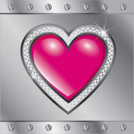 brilliant heart: Saint Valentines Day. Heart on the metallic background