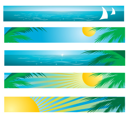 Bunners with tropical beach Vector