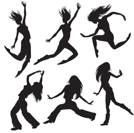 flexible woman: Bailarines silueta Vectores