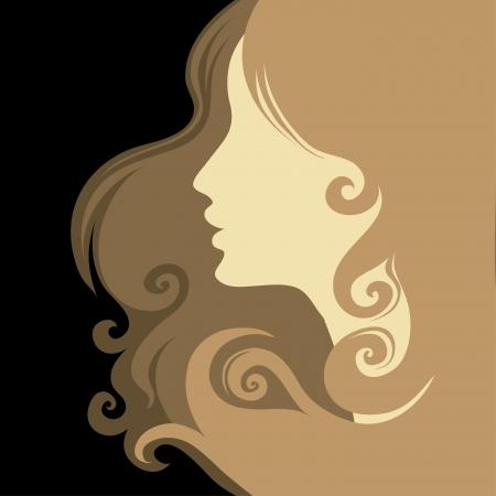 Closeup femme vintage décoratif avec de beaux cheveux