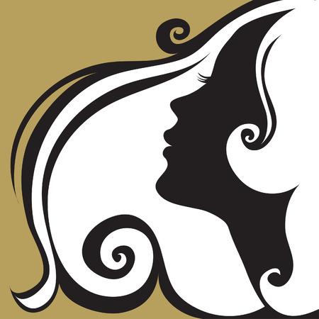 Closeup decorative vintage woman with beautiful hair Illustration