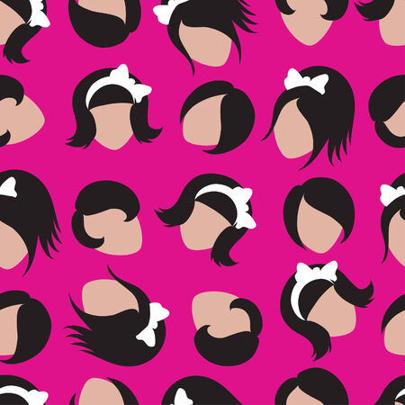 Seamless pattern from cute emo faces on pink background Vector