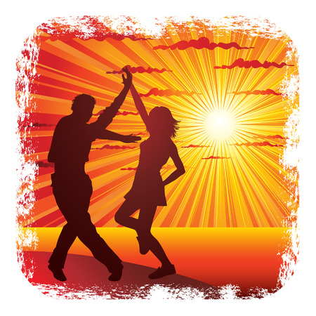 Young couple dancing on the seacoast Vector