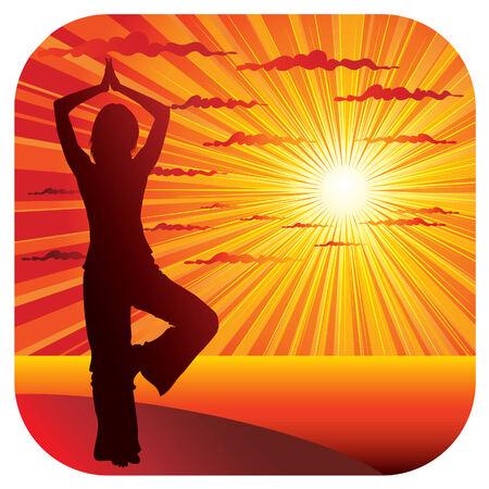 yoga meditation: Giovane donna sottile facendo ginnastica yoga sul litorale