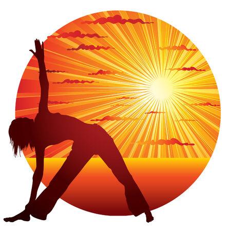 woman exercising: Young slim woman doing yoga gymnastics on the seacoast Illustration