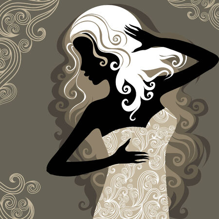 melancholy: Close-up decoratieve vintage vrouw met mooie haren in de sierlijke jurk (van mijn grote