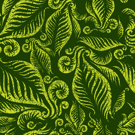 Seamless green floral pattern with twirled grunge fern leafs  Vector