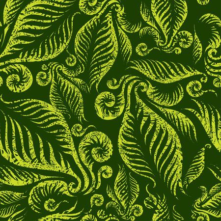 Sin fisuras patrón floral verde con hojas de helechos girar grunge