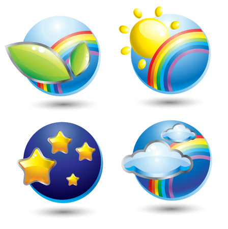 Set of natural glassy cute web icons Stock Vector - 5118362