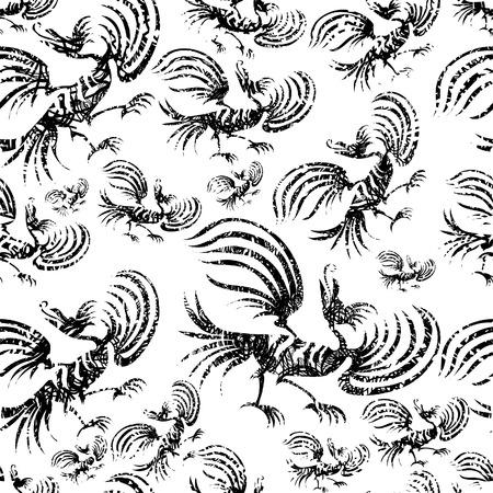 Seamless chinese dragon-bird grunge pattern  Vector