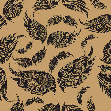 ornated:  Seamless pattern with ornated wings  Illustration