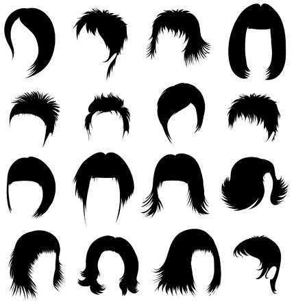 girl short hair: Big set of black hair styling for woman  Illustration