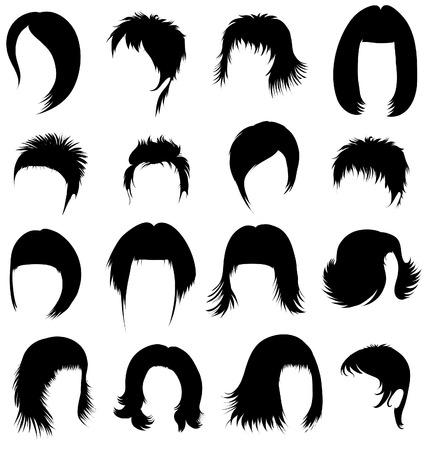 woman short hair: Big set of black hair styling for woman  Illustration