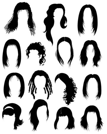 styling: Big set of black hair styling for woman  Illustration