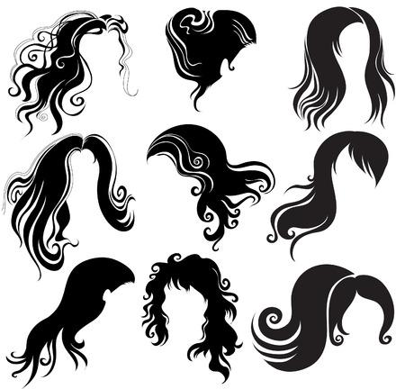 Große Reihe von schwarzen Haaren styling für Frau Vektorgrafik