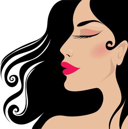 Closeup elegant brunette woman Vector