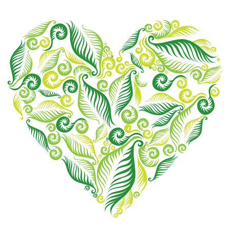 Decorative heart from fern leafs. Saint Valentines Day.  Vector