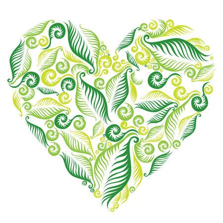 saint valentines: Donna dal cuore foglie di felce. San San Valentino.