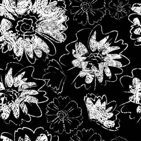 hatchwork: Seamless white on black grunge floral pattern Illustration