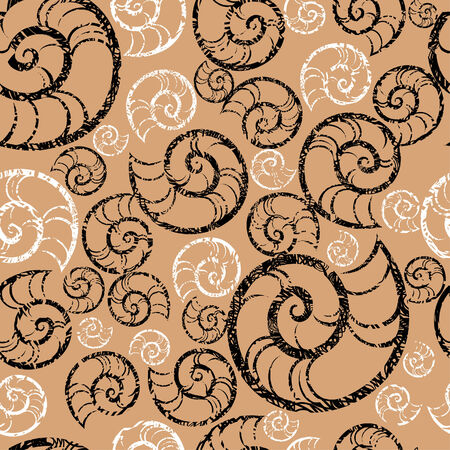 seacoast: Seamless grunge SPA pattern with shells Illustration