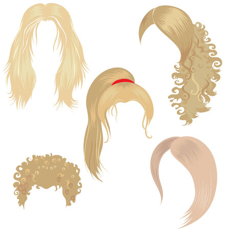 styling: Set of trendy blond hair styling