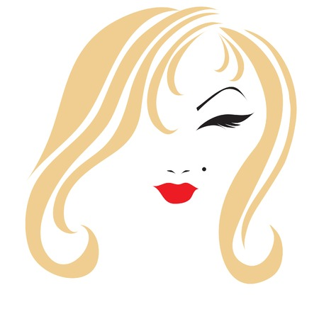 Sketch of a girl with long beautiful blond hair Vector