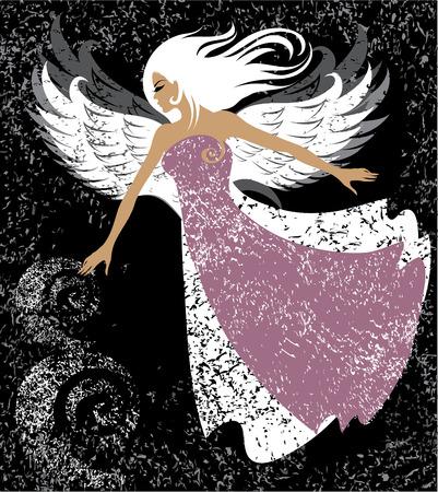 trendy girl: Beautiful girl with wings flying like an angel