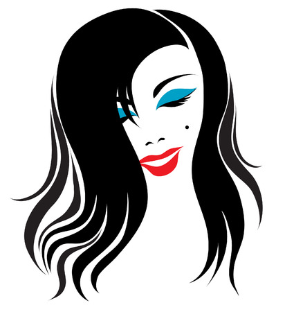 long black hair: Girl with bright make-up Illustration
