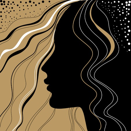 Vintage woman with beautiful hair Vector