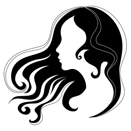 Portrait of a girl with beautiful hair Illustration