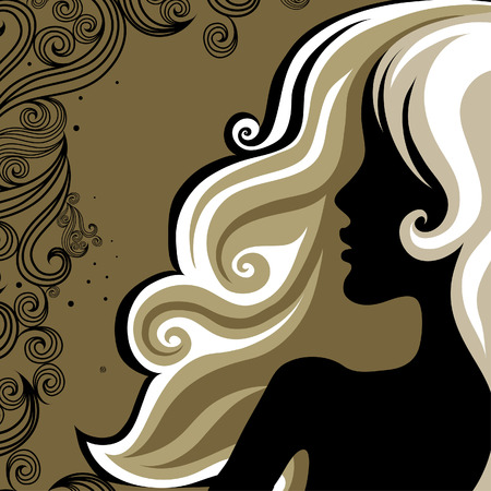 Closeup decorative vintage woman with beautiful hair Stock Vector - 5144780