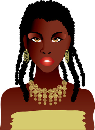 beautiful african girl in gold necklace Vector